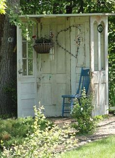 Old doors create a private garden space   Pinterest