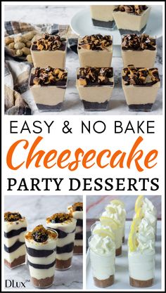 If you're looking for easy no bake cheesecake party dessert recipes check out our collection of some awesome party desserts that are super quick and simple to prepare! Perfect for birthdays, weddings and any party or event! Mini Desserts, Mini Dessert Cups, Mason Jar Desserts, Mini Dessert Recipes, Small Desserts, Delicious Desserts, Desserts For Birthdays, Dessert In A Cup, Christmas Party Desserts