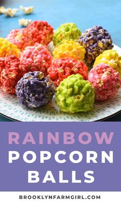 How to Make RAINBOW Popcorn Balls with marshmallow! This easy DIY recipe walks you through how to make popcorn balls that are colored using food dye and karo syrup! They're a great snack and dessert for birthday parties! Marshmallow Popcorn, Caramel Popcorn Balls Recipe, Candy Popcorn, Popcorn Bar, Popcorn Recipes, Best Dessert Recipes, Colored Popcorn, Jello Popcorn, Sweets Recipes