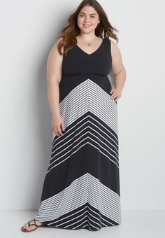plus size maxi dress with mixed stripes