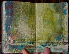 Gone Wild with the Gelli-plate  Kell and I had a glorious art date yesterday! We got the Gelli-plate out and played and played. I completely filled my 3.75x5.5 inch Moleskine with Gelli Prints using acrylic paint. All 80 pages! Here are some of them.