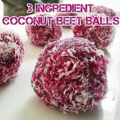 3 ingredient #VEGAN #COCONUT BEET balls These are awesome and easy!!  Ingredients: 4oz Raw Beetroot roughly chopped 3oz Dates 2oz Dessicated Coconut  _  Instructions:  1. Blend all 3 ingredients in a food processor.  2. Roll into little balls.  3. Sprinkle extra coconut on cutting board and roll balls in it  4. Refrigerate approx 1 hour  5. Enjoy www.uglybynature.com