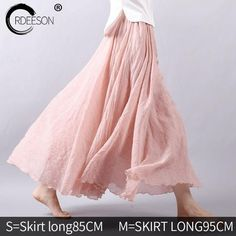 Gender: Women Material: Linen,Cotton Pattern Type: Solid Silhouette: A-Line Dresses Length: Ankle-Length Style: Casual Brand Name: ordeeson Waistline: Empire Decoration: Ruffles Model Number: women skirt Long Maxi Skirts, Pleated Maxi, Summer Skirts, Casual Skirts, A Line Skirts, Evening Skirts, Vetement Fashion, Look Boho, Cotton Skirt