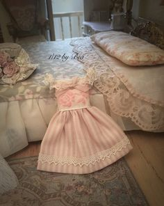 1/12 girl dress - miniature dolls house - hand made - shabby chic style