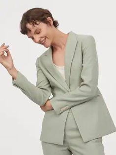 H&M Women Mint Green Solid Single-Breasted Blazer