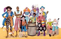 Monica Carretero Illustration - monica carretero, traditional, paint, painted, watercolour, ink, watercolor, picture book, fiction, educational, commercial, trade, people, children, boys, girls, men, man, women, woman, ladies, lady, pirates
