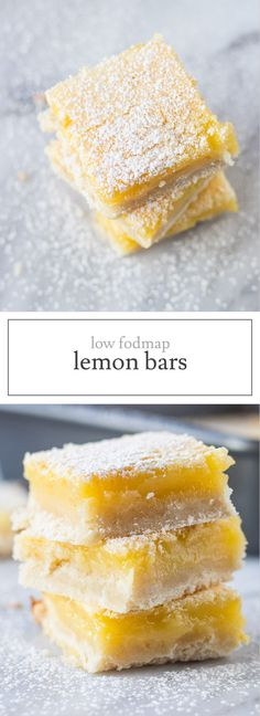 With a shortbread-like crust and fresh lemon flavor, this gluten-free Low FODMAP Lemon Bar recipe is a yummy, springtime treat!   funwithoutfodmaps.com   #lowfodmap #glutenfree #lemonbar #glutenfreedessert
