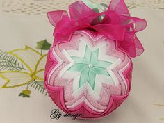 Lovely pink and mint Christmas tree ornaments  patchwork ornament quilted ornaments  Christmas baubles fabric tree ornaments xmas baubles
