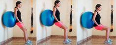 Agachamento com bola para definir a barriga
