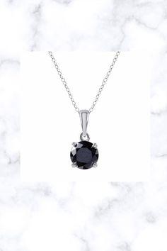 Sterling Silver 1/2ct TDW Black Diamond Solitaire Pendant by Unique Design