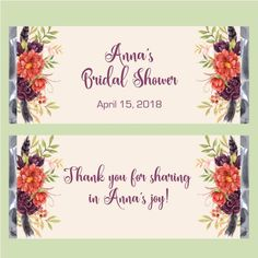 Blooms Bridal Shower Candy Bar Wrapper #bridal #bridalshowerideas