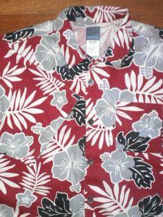 ALOHA SHIRT! MENS XL QUICKSILVER s/s HAWAIIAN red FLORAL DESIGN camp shirt #Fashion #Style #Deal