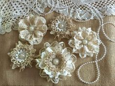 Weddbook is a content discovery engine mostly specialized on wedding concept. You can collect images, videos or articles you discovered  organize them, add your own ideas to your collections and share with other people - 5 shabby chic vintage lace handmade flowers approximately 3'' - 4'' ***Shabby chic lace flowers are perfect for any kind of embellishing. They can be added to headbands, hair clips, brooch pins, bridal bouquets, mason jars, vases, purses, tables, pillows, and much more…