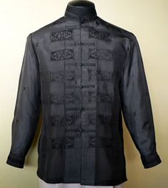 A subtle ethnic pattern and the black color only enhance the superior nature of this high-quality Jusi fabric Tagalog Color: Black Mandarin collar, chinese and cuff buttons Full-open button front Formal fit Barong Wedding, Filipiniana Dress, Filipiniana Wedding, Wedding Gowns, Barong Tagalog, Filipino Fashion, Navy Tuxedos, Chinese Collar, Tropical Fashion