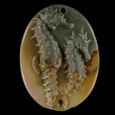 BH07612# Natural Hand Carved Seahorse Succor Creek Jasper Pendant Bead Gemstone #Handmade #Pendant