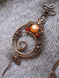 Wire Wrapped rame scialle Pin  spilla a spirale di rame filo