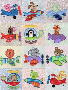 Airplane Critters Applique x JuJu embroidery designs