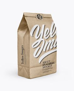 Kraft Paper Bag With Label Mockup - Half Side View