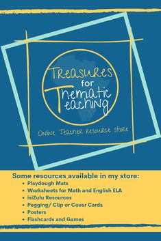 Treasures for Thematic Teaching is an online teacher resource store on Teachers Pay Teachers. Resources include play dough mats, worksheets for math and ELA, flashcards and more.