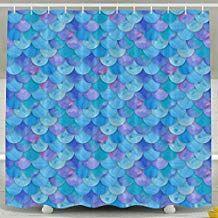 Blue Mermaid Scale Shower Curtain Fabric Bathroom Shower Curtain