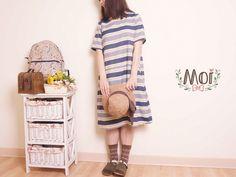 Moi 風格服飾自然風深藍寬條棉麻洋裝