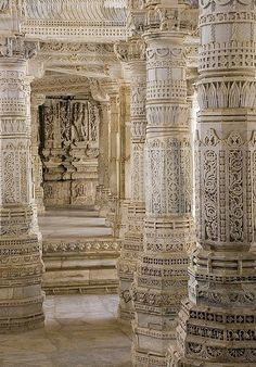 Beautiful White Pillars - Ranakpur, India