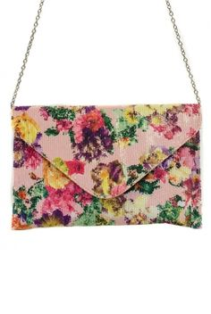 Sequins Flower Printed Envelope Clutch Bag With Metal Strap.