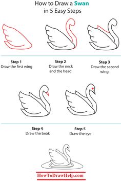 How to draw a swan step by step tutorial -- lots of drawing tutorials at www.HowToDrawHelp.com