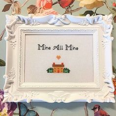 Excited to share this item from my shop: Framed & finished cross stitch bitch - blank for your message to be stitched, custom message or image, personalised embroidery needlepoint