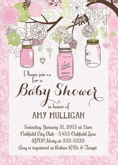 Mason Jar Pink Damask Baby Shower Invitation  by PartyPopInvites