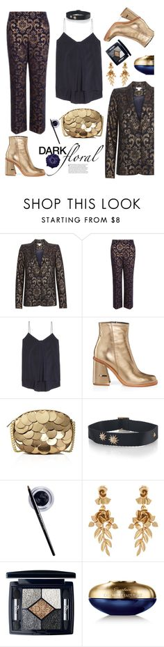 """""""In Bloom: Dark Florals"""" by hamaly ❤ liked on Polyvore featuring Brunello Cucinelli, TIBI, MICHAEL Michael Kors, Maybelline, Oscar de la Renta, Christian Dior, Guerlain and darkflorals"""