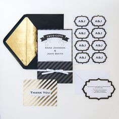 <div>This luxurious invitation suite has white card stock with black and gold foil accents. The ...