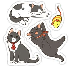 Cats: Stickers Black and White Cats Sticker Kawaii Stickers, Cat Stickers, Printable Stickers, Cat Doodle, Homemade Stickers, Kawaii Doodles, Cat Character, White Cats, Black Cats