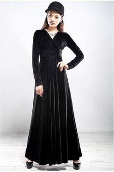 4-Color-Elegant-Women-V-Neck-Shimmer-Velvet-Stretchy-Long-Sleeve-Dress-Gorgeous