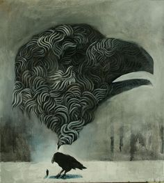 Kuiskaus by Samuli Heimonen Black Bird Fly, Dark Wings, Crows Ravens, My Spirit Animal, Art Studies, Bird Art, Contemporary Paintings, Oil On Canvas, Artsy