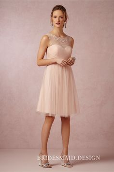 4b3da057763 Blush chiffon knee length A-line bridesmaid dress with tulle overlay. Lace  appliqued illusion