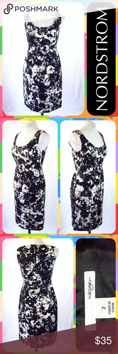 """NORDSTROM Black Abstract Print Career Sheath Dress Sleek Halogen sheath dress from Nordstrom in a black and white abstract print. Sleeveless silk blend dress with scoop neck and hidden back zip closure. Fitted with a 7"""" slit on the back hem. Lined. Size XS or 2. Measures 17"""" across the chest and 35"""" in length. Perfect career dress! Looks Like New!      💐Bundle 2 or More Items and Save 15% Off Automatically!💐 Nordstrom Dresses Midi"""