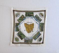 Vintage retro 1960s Tasmania souvenir tea table cloth by evaelena, $28.00 Tasmania, Tea Towels, Decorative Items, Retro Vintage, 1960s, Vintage World Maps, Unique Jewelry, Handmade Gifts, Table