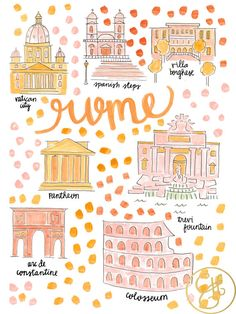 Rome Map Print by Evelyn Henson Rome Travel, Travel Maps, Travel Posters, Italy Travel, Italy Vacation, Travel Destinations, Rome Map, Voyage Rome, Evelyn Henson