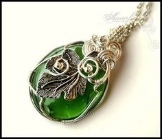 Emerald green wire wrapped pendant