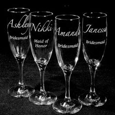 6 Bridesmaids Gifts Champagne Flutes Personalized Wedding Engraved. These are so sweet!!