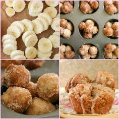 Banana Monkey Bread Muffins by bakergirl: Tiny banana bread biscuit balls + cinnamon + sugar + vanilla glaze. #Monkey_Bread #Banana #bakergirl