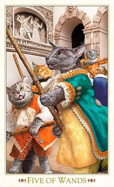 Five of Wands - Bohemian Cats Tarot F2 Savannah Cat, Tarot Decks, Cat Memes, Tarot Cards, Crazy Cats, Cat Art, Pet Portraits, Baroque, Cats And Kittens