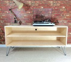 Birch Plywood TV/Entertainment/Media Stand With Hairpin Legs- Handmade In The UK | eBay