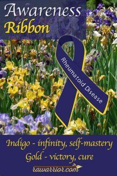 Awareness Ribbon for Rheumatoid Arthritis. What the colors indigo and gold represent.