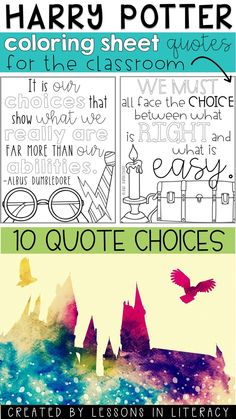 10 different HARRY POTTER themed coloring sheets! Great way to promote positivity in the classroom :)
