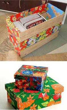 3 Objetos com chita no blog Detalhes Magicos Mais Cardboard Crafts, Wooden Crafts, Diy And Crafts, Boho Diy, Craft Box, Home Wall Decor, Creative Decor, Projects To Try, Decorative Boxes
