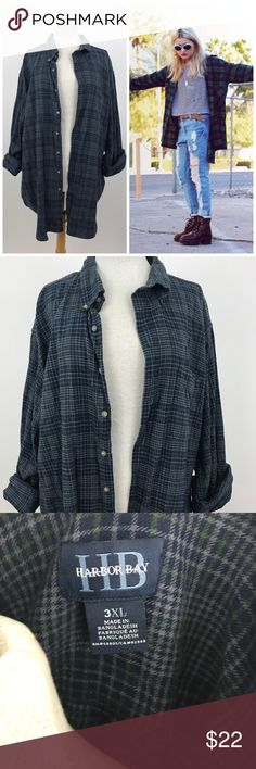 Vintage 90s Grunge Oversized Flannel Men's size 3X - very oversized ! Measurements to come... Vintage Tops Button Down Shirts