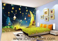 Fairy Tale Star Night Moon 00097 Ceiling Wall Mural Wall paper Decal Wall Art Print Decor Kids wallpaper