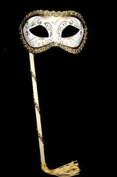 Venetian Masquerade Stick Mask - White Gold